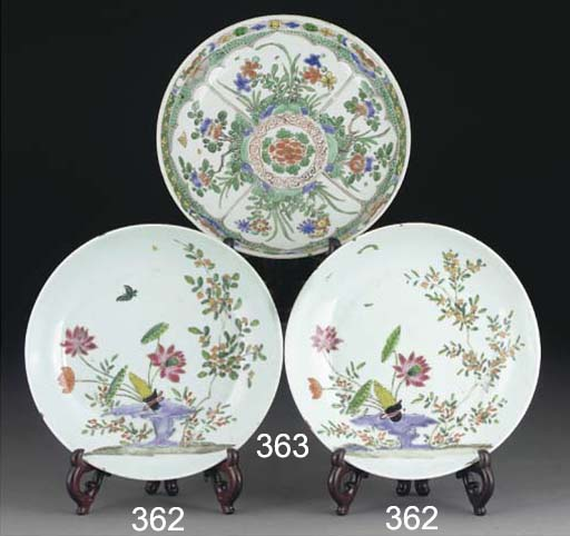 A Chinese famille verte dish,