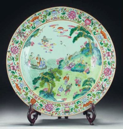 A Chinese celadon ground famil