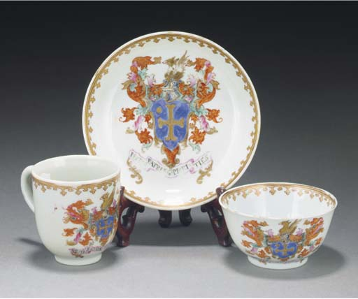 A famille rose armorial teabow