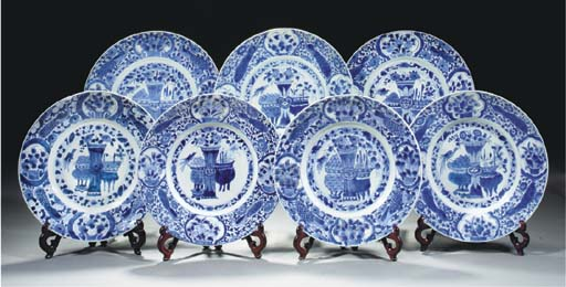 Seven Chinese blue and white p