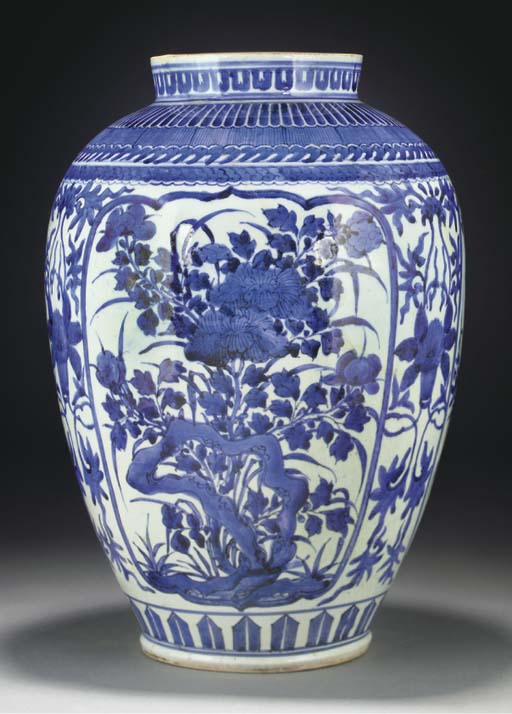 A Japanese Arita blue and whit