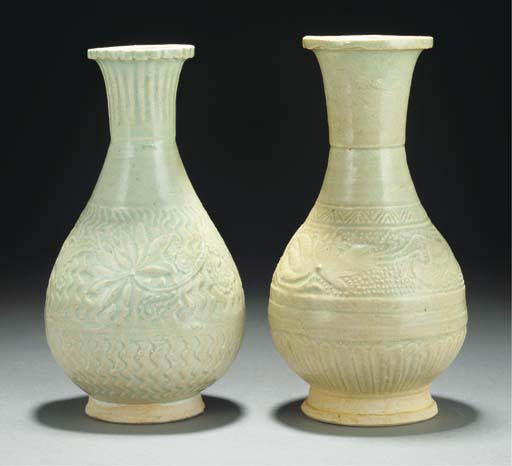 Two Qingbai pear-shaped vases,