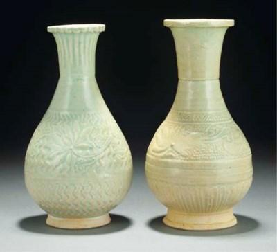 Two Qingbai pear-shaped vases,
