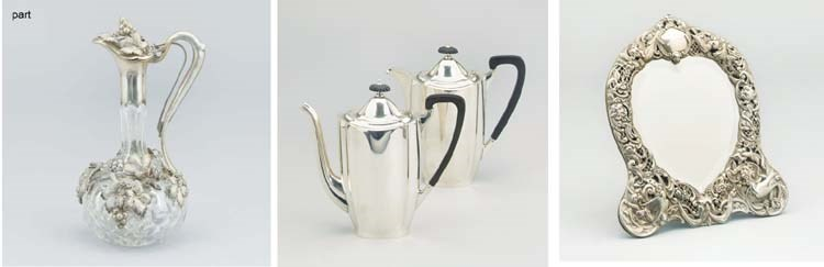 A MODERN SILVER COFFEE POT AND