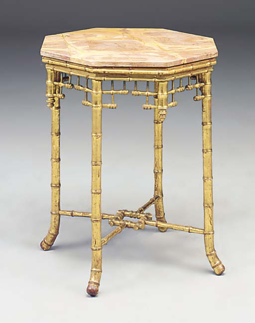 A FRENCH GILTWOOD FAUX BAMBOO