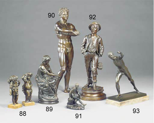 A bronze model of Mercury seat