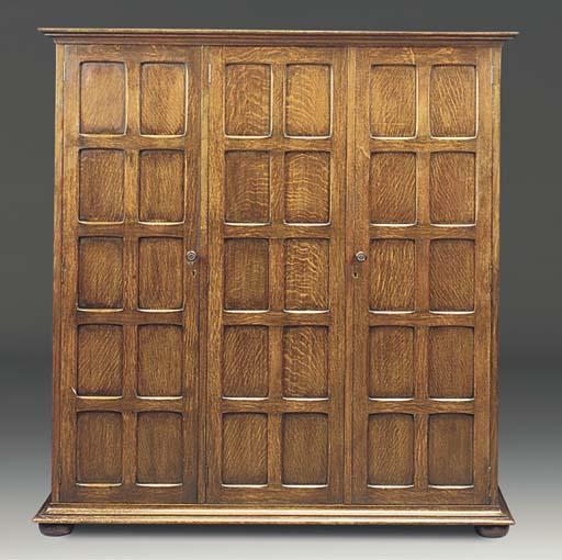 An oak panelled cupboard