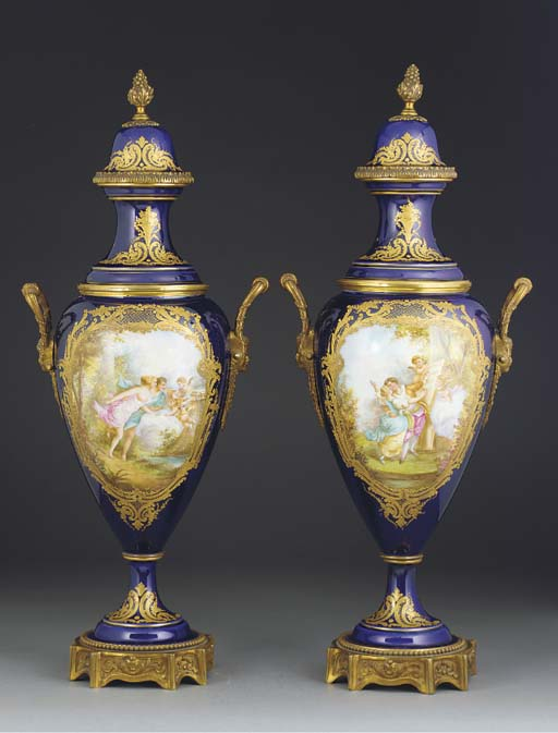A pair of Sevres-style dark-bl