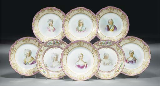 Eight Sevres-style pink and bu