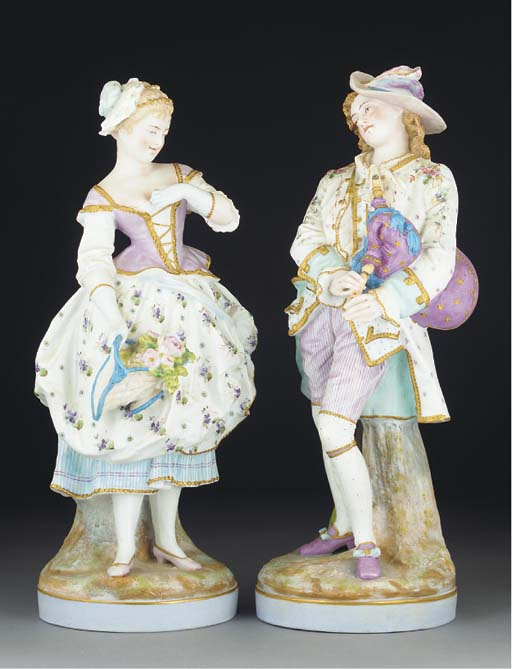 A pair of French biscuit figur