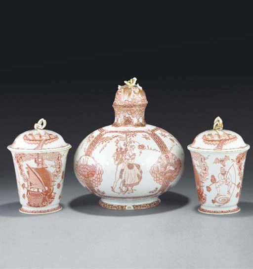 A Meissen garniture of three v
