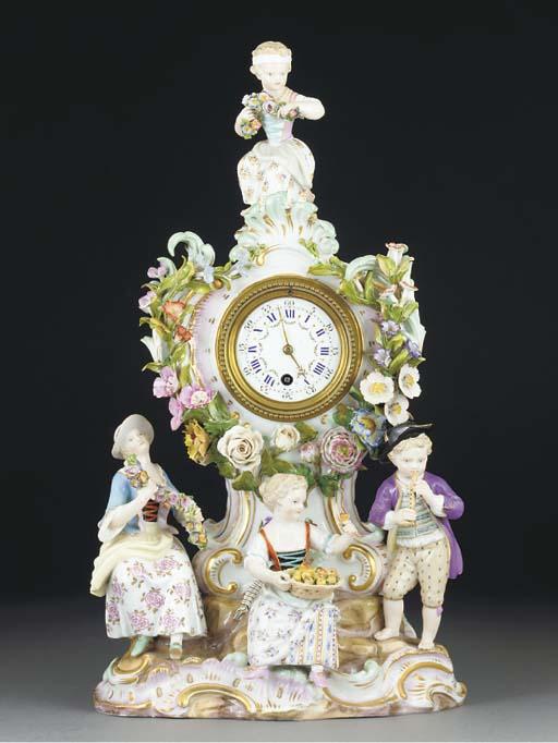 A Meissen clock-case