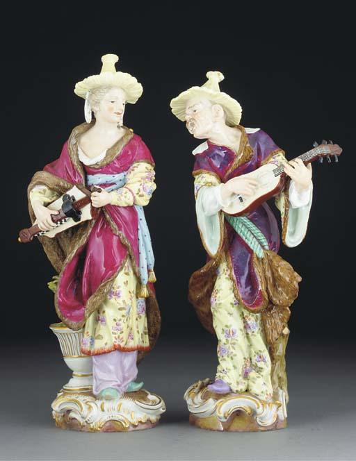 A pair of Meissen matador figu