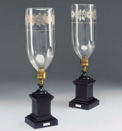 A PAIR OF EBONISED AND ETCHED-