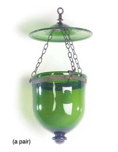 A PAIR OF BELGIAN GREEN GLASS