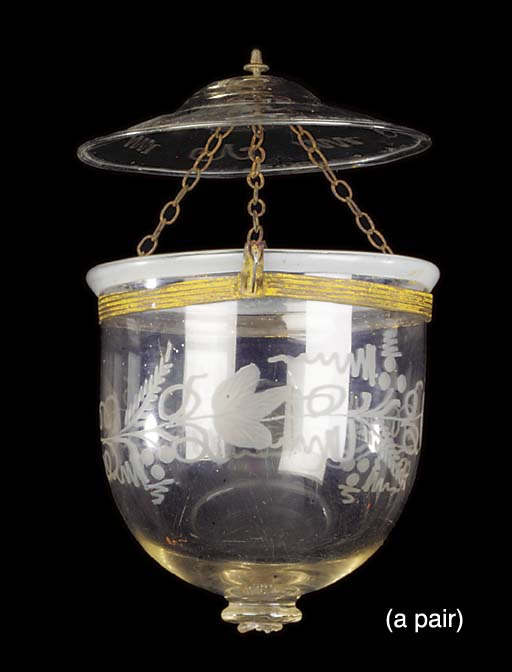 A PAIR OF BELGIAN ETCHED GLASS