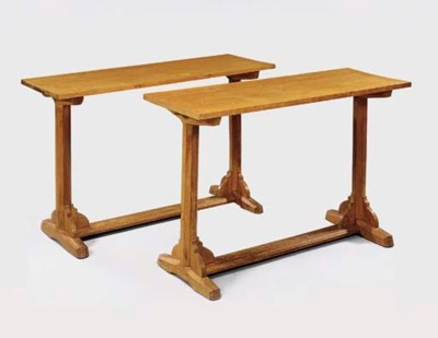 A PAIR OF OAK SIDE TABLES