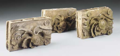THREE CHINESE GREY POTTERY OBL