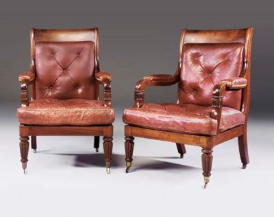 A PAIR OF GEORGE IV MAHOGANY L