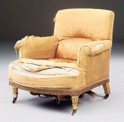 A LATE VICTORIAN GILTWOOD EASY