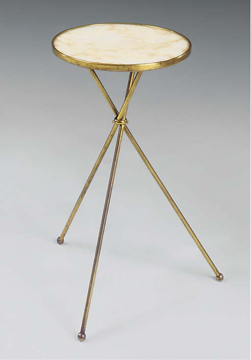 A MARBLE AND BRASS OCCASIONAL