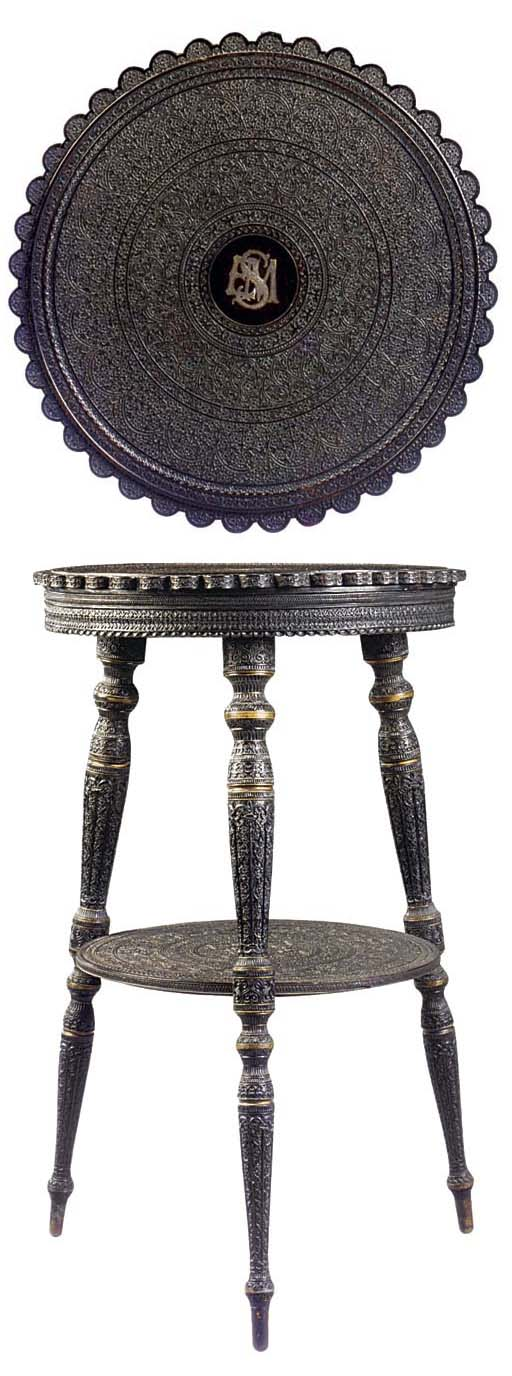 AN ANGLO-INDIAN CARVED EBONY A