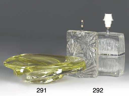 TWO FRENCH MOULDED GLASS LAMP