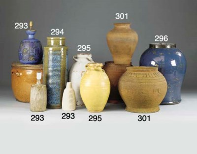 TWO PAINTED TERRACOTTA VASES