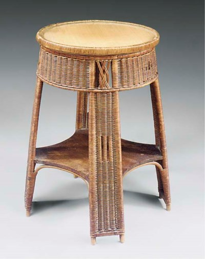 A WICKER OCCASIONAL TABLE