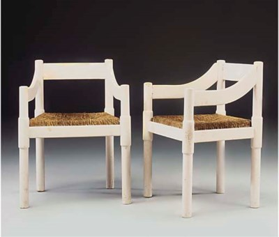 A PAIR OF PAINTED BEECH SIDE C