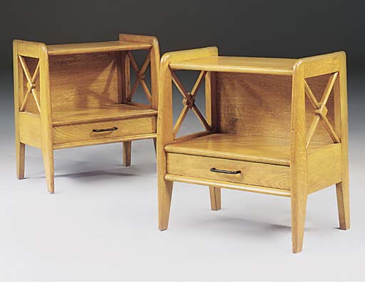A PAIR OF ASH BEDSIDE TABLES