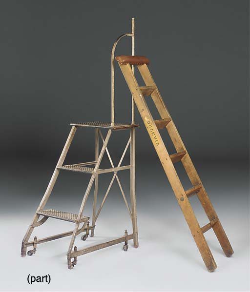 AN OAK LIBRARY LADDER WITH LEA