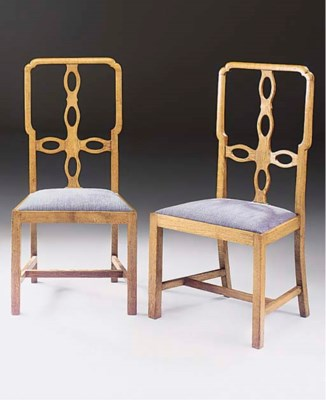 A PAIR OF STAINED WOOD SINGLE