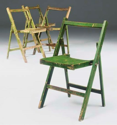 A SET OF FOUR GREEN-PAINTED BE