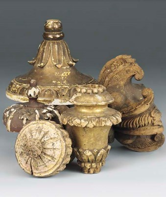 A COLLECTION OF CARVED WOOD FR