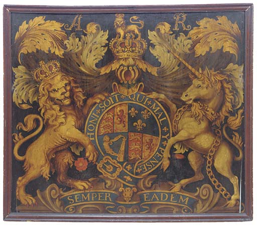 A Queen Anne painted armorial