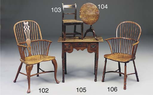 AN ENGLISH YEW WOOD AND ELM WI