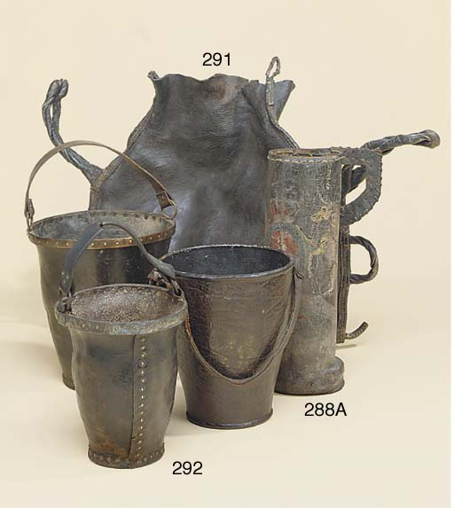 A leather fire bucket