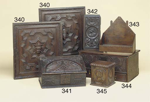 A carved oak box