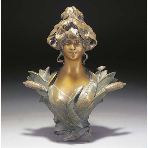 A cold-painted spelter bust
