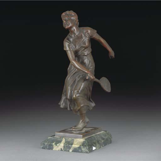 A patinated bronze figure