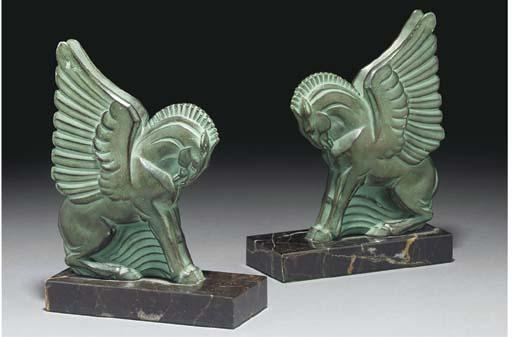 A pair of Post-War green patin