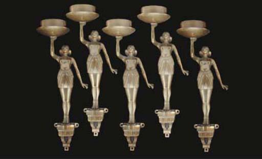 Five English patinated bronze
