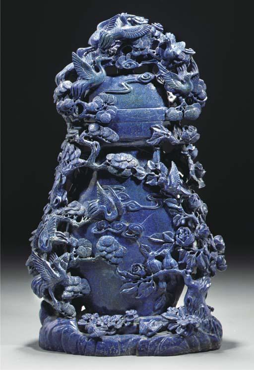 A large lapis lazuli flattened