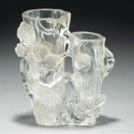 A rock crystal twin vase, 19th