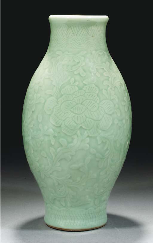 A moulded celadon glazed ovoid