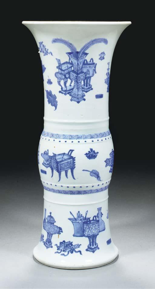 A blue and white gu vase, Kang
