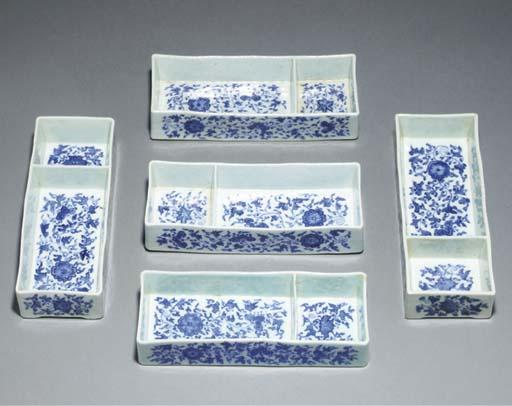 Five blue and white rectangula