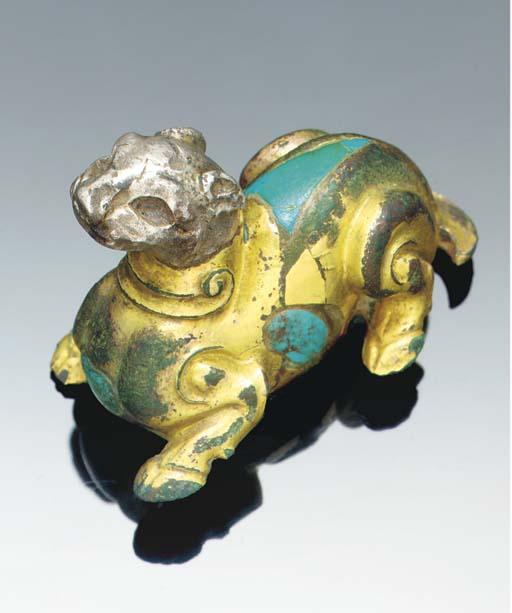 A gilt bronze model of a mythi