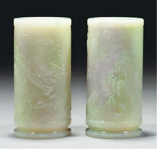 A pair of pale green jadeite v